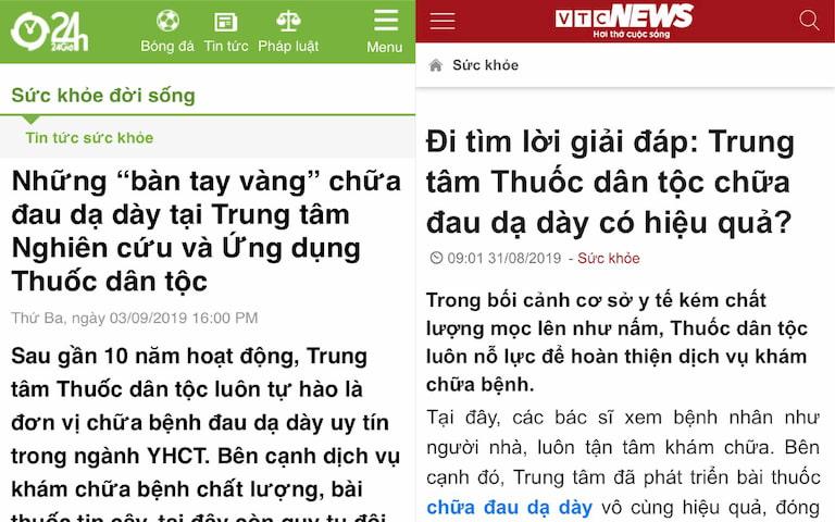 Truyền thông, báo chí đưa tin về giải pháp chữa đau dạ dày tại Thuốc dân tộc