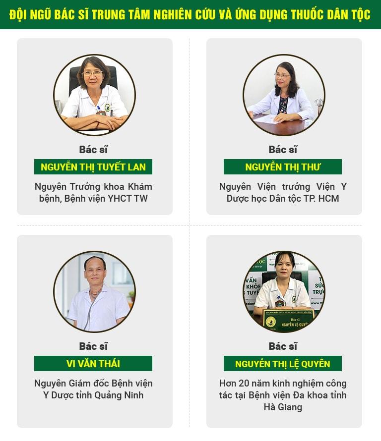 Đội ngũ chuyên gia, bác sĩ hàng đầu tại Trung tâm Thuốc dân tộc